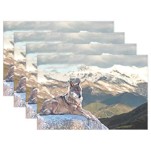 XiangHeFu Platzdeckchen Schnee Berg Wildtier Wolf 30,5 x 45,7 cm 1 Stück Rutschfest hitzebeständig für Esstisch, Polyester-Mischgewebe, Image 811, 12x18x6 in