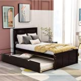 Twin Platform Bed with Trundle, Rockjame Minimalistic Stylish Wood Bed Frame, Space Saving Trundle, Suitable for Boys, Girls, Children, Teenagers and Adults (Espresso)
