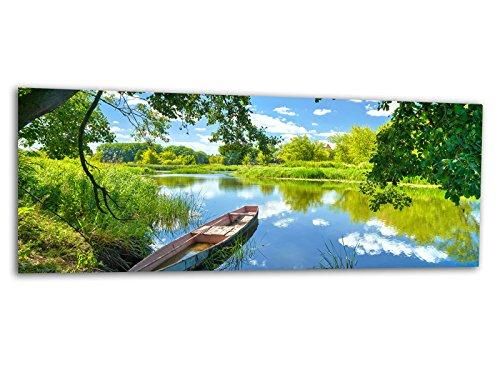 Glasbilder Echtglas Wandbilder Foto auf Glas Boot am See 125 x 50cm AG312502148 / Deco Glass, Design & Handmade/Eyecatcher, Kunstdruck!