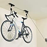 teraysun Bike Hoist Bike Storage Pulley System Bike Lift with 3 Pulleys and 45-Foot Adjustable Rope   100 lb Capacity
