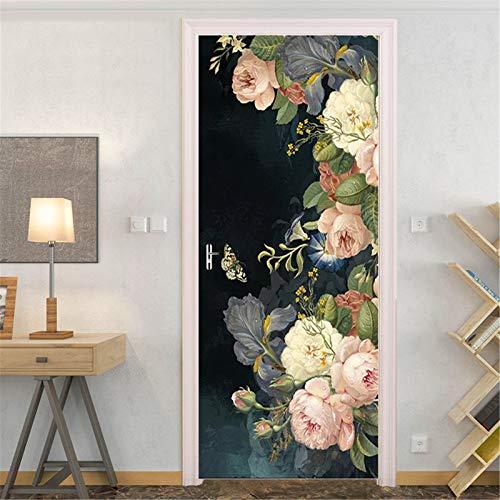 MACHINE BOY Etiqueta de la Puerta decoración del hogar Mural Papel Pintado calcomanías Cartel Mariposas pintadas y Flores de Colores Tamaño 90 * 200 cm