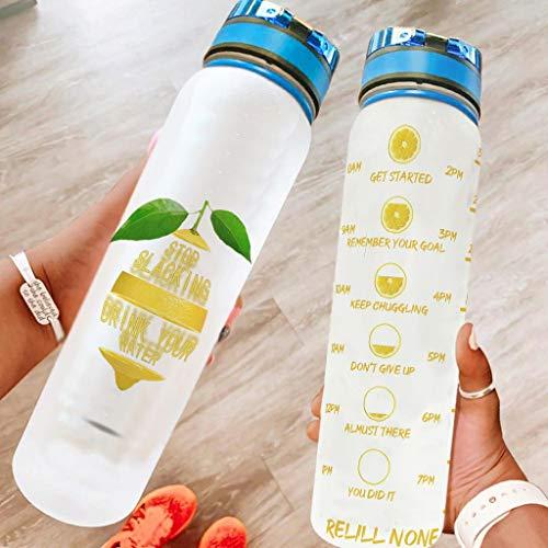 Zbbfwu Botella de agua de limón, a prueba de fugas, para hombres y mujeres, color blanco, 1000 ml