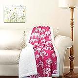 """Lush Decor Pink Elephant Parade Throw Fuzzy Reversible Sherpa Blanket 60"""" x 50 White, 60 x 50"""