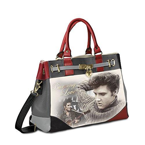 The Bradford Exchange 'Elvis Burning Love' - Handbag with Elvis Design - Soft Pebble Faux Leather - Grey Black and Red
