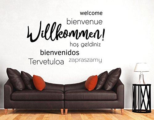 tjapalo® s-pkm366 Wandtattoo Willkommen Sprachen Wandtattoo Wohnzimmer modern Wandtattoo Willkommen flur (B58 x H36 cm)