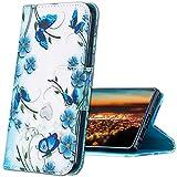 MRSTER Huawei P8 Lite 2017 Funda, Honor 8 Lite Cover, Ultra Slim Carcasa Protección de PU Cuero Funda con Stand Función para Huawei P8 Lite 2017 / Honor 8 Lite. HX Blue Butterfly