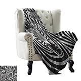 LsWOW Baby Blanket Safari,Couple of Zebras Eyes Face Heads Image Pattern Artistic Wild Animals Design, Black and White Cozy and Durable Fabric-Machine Washable 60'x62'