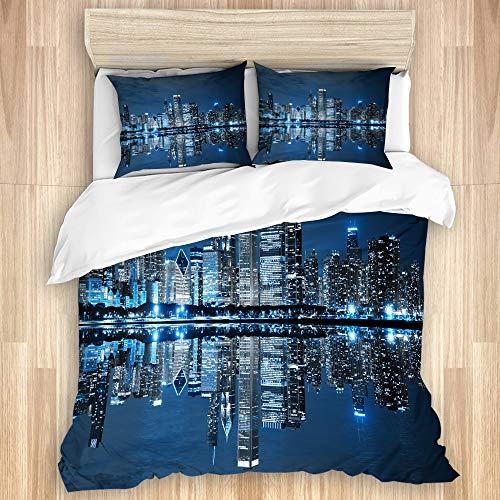 HUAYEXI Bettwäsche Set,Chicago nächtlicher Himmel mit Wolkenkratzer Finanzbezirks Touristenattraktion,1 Bettbezug 240x260cm+2 Kopfkissenbezug 50x80cm