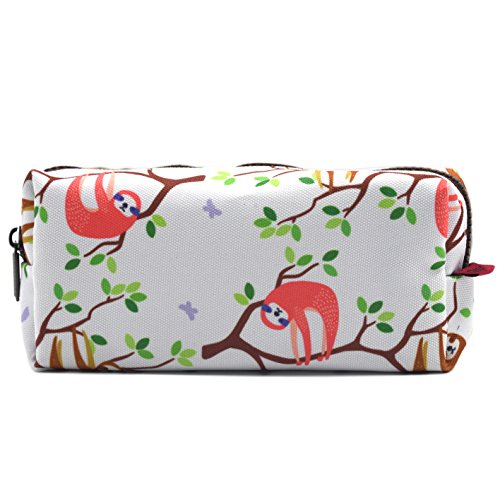 LParkin Sloth Large Capacity Canvas Pencil Case Pen Bag Pouch Stationary Case Makeup Cosmetic Bag (White)