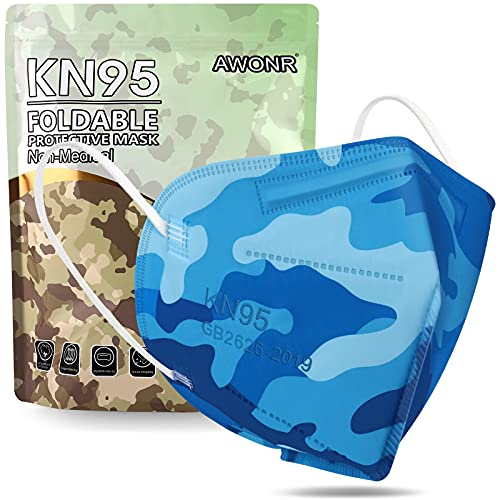 KN95 Face Mask - AWONR 25 Pack Disposable Safety KN95 Masks 5-Ply Protection Comfortable Fit for Men & Women - Blue Camo