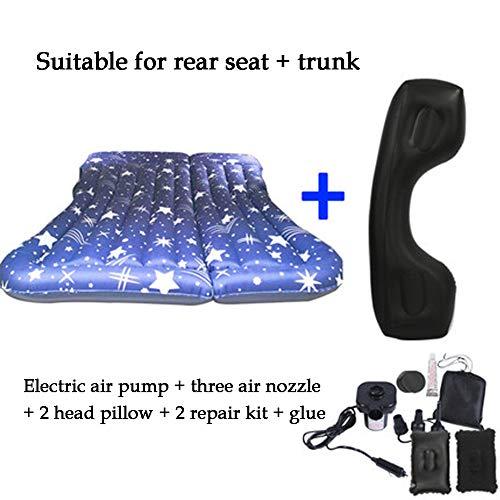 UPSHIP Luchtmatras, robuust, met luchtpomp, voor achterbank in de auto of terreinwagen, met twee opblaasbare kussens, voor het herstel van de slaap, bank, op reis, camping
