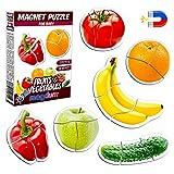 Magnetica puzzle 3 años MAGDUM FRUTAS VERDURAS - 6 Grandes Puzzle bebe - Juguetes magnéticos - Imanes nevera niños - Juguetes niños 3 años educativos - Letras magneticas niños - Imanes niños