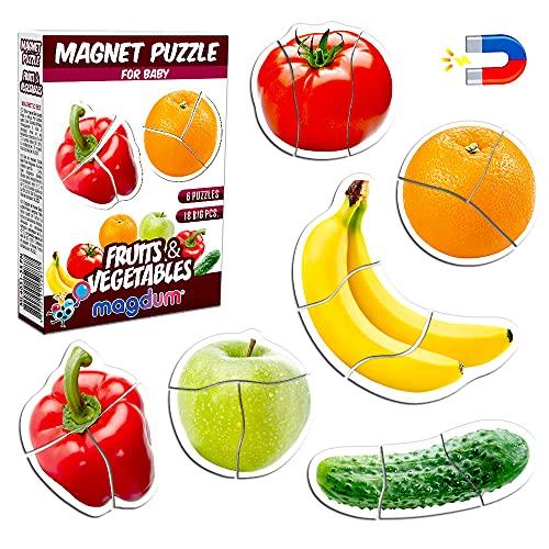 Magnetica puzzle 3 años MAGDUM FRUTAS VERDURAS - 6 Grandes Puzzle bebe 1 año - Juguetes magnéticos - Imanes nevera niños - Juguetes niños 3 años educativos - Letras magneticas niños - Imanes niños