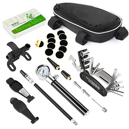 Onvian パンク修理キット 自転車ツールセット メンテナンス 工具 マルチツール 空気入れ クロスバイク/ロードバイク