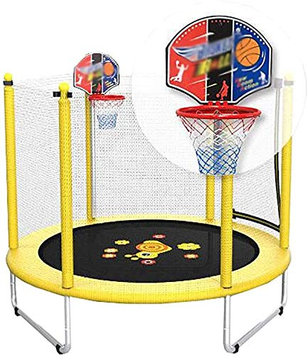 YAOJIA Indoor trampoline Trampoline For Kids With Basketball Hoop|Indoor Fitness Trampoline With Safety Net|,5ft