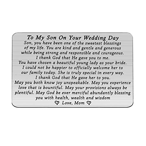FOTAP Groom Wallet Cards to My Son on Your Wedding Day Wallet Card Wedding Gift Groom Gift from Parents (Son Wedding Wallet)