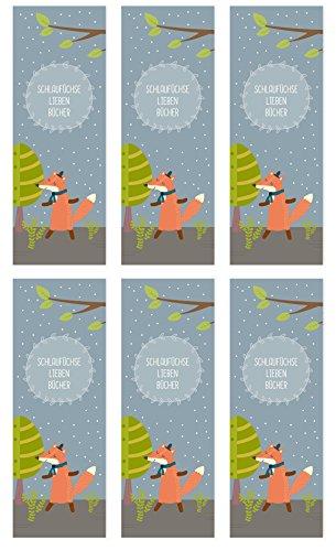 dabelino 6er Set Fuchs-Lesezeichen für Kinder (Mädchen oder Jungen, Waldtiere-Kindergeburtstag-Mitgebsel)