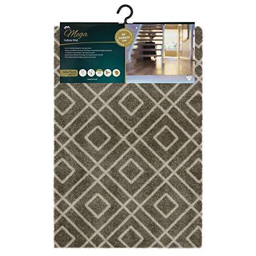 JVL Mega zeer absorberende machine wasbare deurmat, kleine diamant ontwerp, bruin, een maat