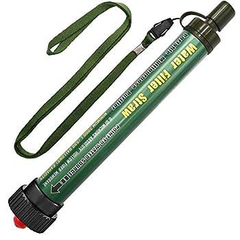 DeFe Filtre Eau Personnel 2000L Système de Filtration d'eau Élimine 99,9% des Bactéries Filtre à 0,01 Microns Paille Eau Potable pour Randonnée Voyage Backpacking Camping Survi (Vert 1 Pack)