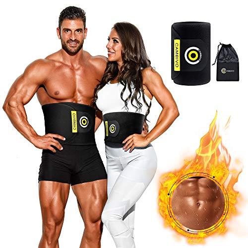 CAMBIVO Bauchweggürtel, Waist Trainer, Fitnessgürtel, Beschleunigender Schweißgürtel, Gewichthebergürtel für Damen und Herren, Sport, Laufen, Taille Trimmer Gürtel