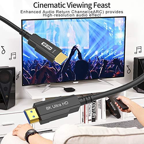 CableDeconn 8K Optic HDMI Kabel Real UHD HDR 8K 48 Gbit/s 8K@60Hz 4K@120 Hz HDMI-Glasfaserkabel 3D-Unterstützung HDCP2.2 für HDMI PS4 SetTop Box HDTV-Projektoren 15m,50ft