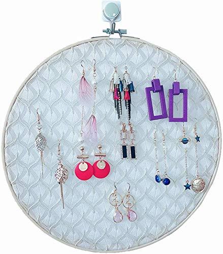 L.TSA Almacenamiento de Joyas GonFan Regalos de cumpleaños Mujeres Niñas Pendientes creativos de Encaje Bordado Shed Display Stand Storage Shelf Display Stand Jewelry