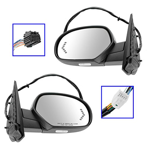 Mirror Power Folding Heated Memory Puddle Signal Chrome Pair for GM Pickup -