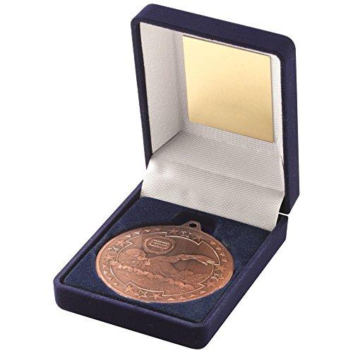 Lapal Dimension Blau Samt Box und 50mm Medaille Schwimmen Trophy–Bronze 3,5in