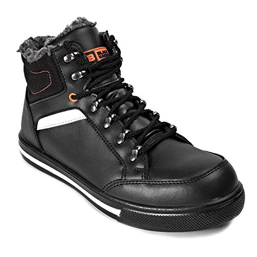 Black Hammer Mens Leather Safety Boots S3 SRC Steel Toe Cap Work Shoes Ankle Leather Fur 3007 14 D(M) US Black