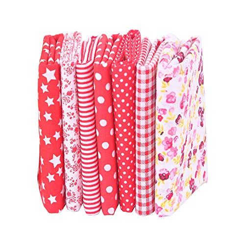 7 piezas de telas de algodón paquete de tela 50x50cm para patchwork costura DIY Sin diseño repetido flores impresas (rojo)