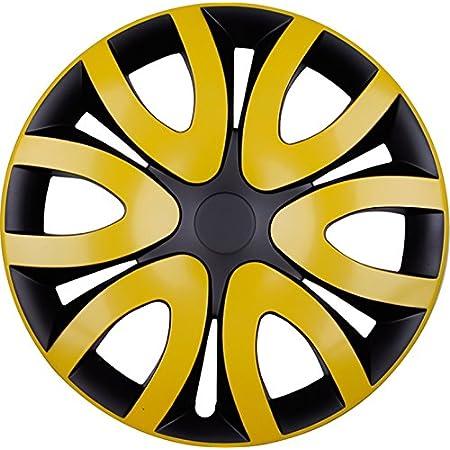 Premium Radkappen Radzierblenden Radblenden Modell Mika 4er Set Farbe Gelb Schwarz Felgendurchmesser 16 Zoll Auto