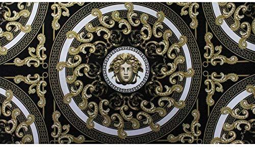 Russo Tessuti Tappeto Passatoia Corsia Cucina Bagno Antiscivolo Medusa Medea Nero Oro Barocco-50x180