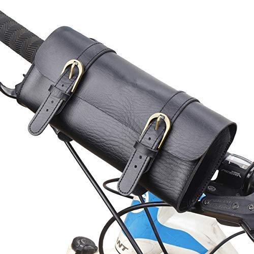 Ruiqas Bolso de Bicicleta Delantera con Marco de Cuero Artificial - Negro