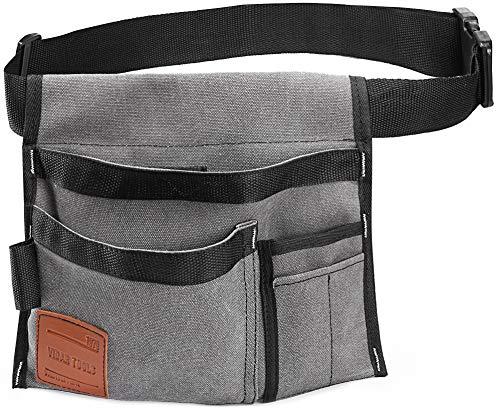 VIDAR TOOLS 6-Pocket Single Side Tool Belt Pouch. Carpenters,Gardeners.Durable Canvas and Nylon Construction.Comfortable Adjustable Belt.