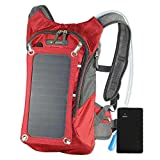 SolarGoPack Solar Powered 1.8 Liter Hydration Backpack / 7 Watt Solar Panel and 10K mAh Charging...