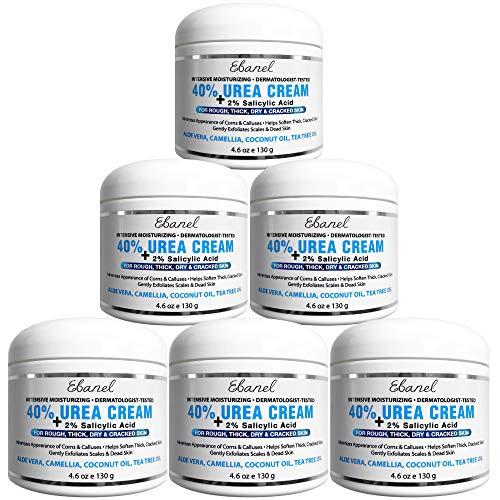 Urea Cream 40% Plus Salicylic Acid, 6-Pack, Callus Remover Hand Cream Foot Cream For Dry Cracked Feet, Hands, Heels, Elbows, Nails, Knees, Intensive Moisturizes & Softens Skin, Exfoliates Dead Skin