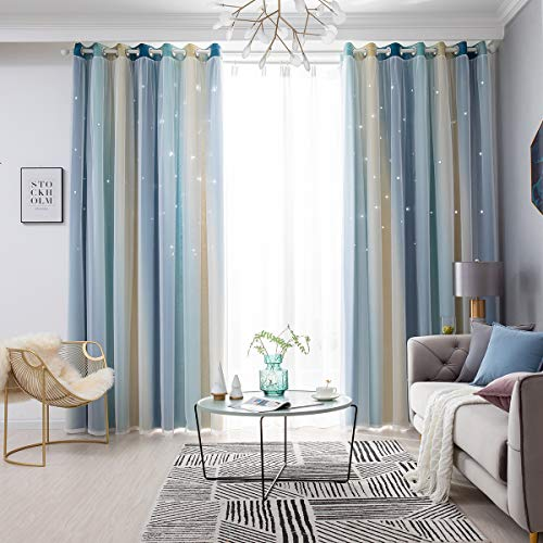 Stars Blackout Curtains for Girls Bedroom 1 Panel Colorful Star Cutout Double Layer Star Window Curtain Decor for Kids Bedroom, Living Room, Nursery Room (blue, 53' x 63')