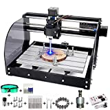 MYSWEETY CNC Router 3018 Pro-M CNC Machine,Mini 3 Axis Plastic Acrylic PCB PVC Wood Carving Milling Engraving Machine with 5.5W Module and Offline Controller [ Working Area 300x180x45mm]
