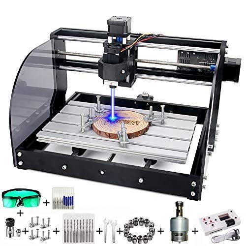 7W 3018 Pro-M CNC Fräsmaschine Engraving Machine, MYSWEETY GRBL Steuerrouter DIY Kit 3 Achsen Kunststoff Acryl PVC Holzschnitzerei 300x180x45mm Mit Offline Controller