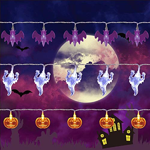 Twinkle Star Halloween String Lights, Set of 3 Total 90 LED 35.4 FT Purple Bat, White Ghost, Orange Pumpkin String Lights Battery Operated Indoor Party Bedroom Home Festival Decoration