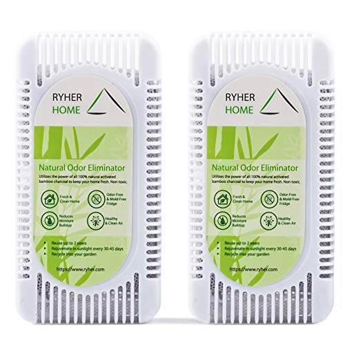 Ryher Absorbs and Eliminates odors from the refrigerator - Bamboo Active Air Freshener and Purifier Bamboo 100% Natural - Removes odors from the fridge (L - 2 Units, White)