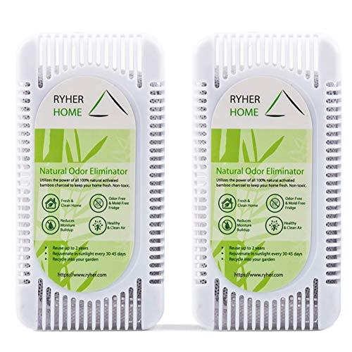 Ryher Absorbe y Elimina olores del frigorífico – Ambientador y purificador de Aire de carbón Activo de bambú 100% Natural - Quita olores del frigo (L - 2 Unidades, Blanco)