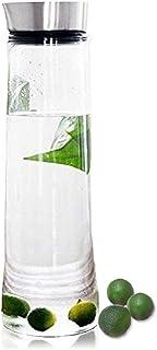 1,5 L Jarra agua botella, de cristal de borosilicato con tapa de acero inoxidable, para tea, helado, agua, leche, zumo, limonada y bebidas espumosas, 1,5 litro