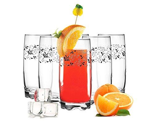 Sendez Lot de 6 verres à long drink 350 ml avec motif feuilles