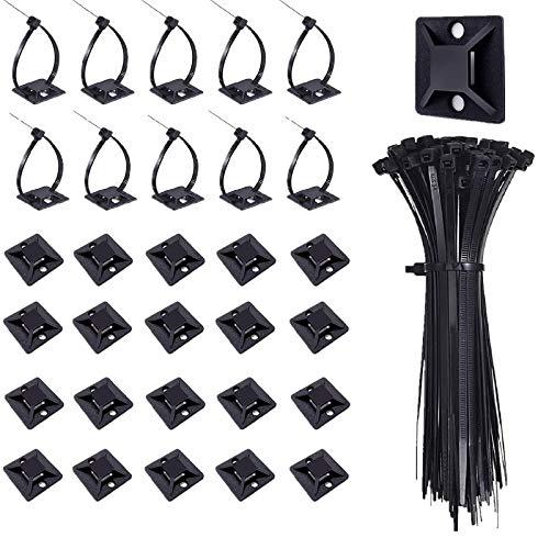 100 Stück Kabelbinder mit Kabelbinderhalterung, Mehrzweck-Kabelbinder Kabelschelle Kabelklemme mit Selbstklebende Basis Halter (Länge 200 mm, Breite 3.5 mm) (Schwarz)