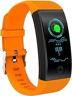 Pulsera inteligente Podómetro, Pantalla a color IP68 Impermeable Pulsómetros Contador de calorias monitor de sueño Notificaciones inteligentes alarma Carga USB Para Android iOS Phone,Orange-OneSize