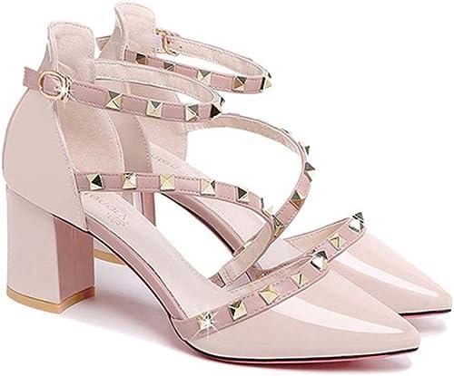 YFYF Chaussures à Talons Hauts pour Femmes Femmes Femmes d'été Couleur Unie Pointus Talons Rugueux Sangle de Cheville Boucle en Cuir Chaussures à Bout fermé Chaussures de soirée de Bal,37-Beige 70a