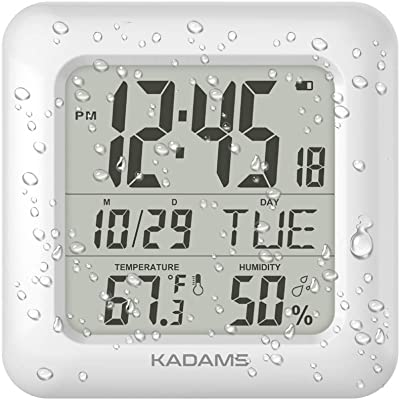 KADAMS Digital Bathroom Shower Wall Clock, Waterproof for Water Spray, Temperature Humidity, Moisture Proof, Water Resistant, Calendar Month Date Day, Suction Cup Stand Hanging Hole Rope Clock [WHITE]