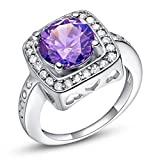 Bague Argent Femme Anneau Mariage Bagues Plaqué Or Blanc Classique Carré Violet Taille 54 Incrusté Cristal Strass [Bague Mariage]