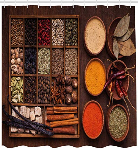 KUKUALE Spice Shower Curtain Peppers Cardamom Chili Cinnamon Cloves Garlic Turmeric And Others In A Wooden Box Cloth Fabric Bathroom 180X180CM(71X71IN)